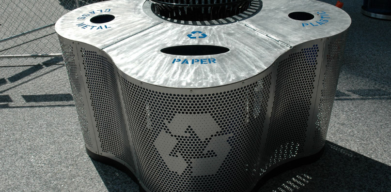 Perforated trash can
