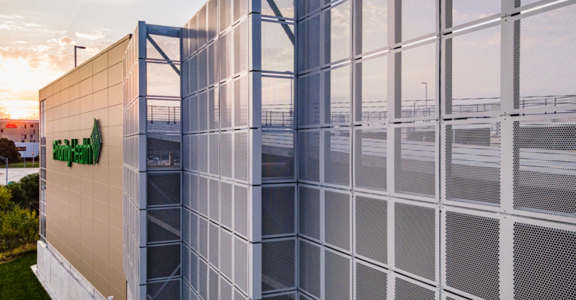 Aluminum Perforated Metal on a Parking Garage